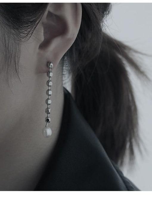 TINGS Brass Asymmetric Bead Tassel Vintage Threader Earring 1