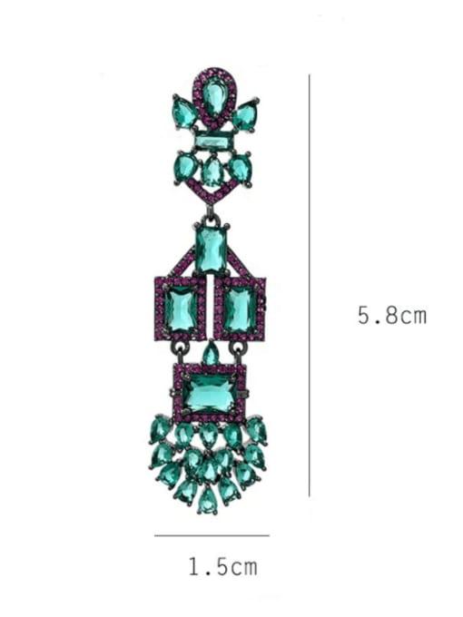 SUUTO Brass Cubic Zirconia Geometric Vintage Drop Earring 3