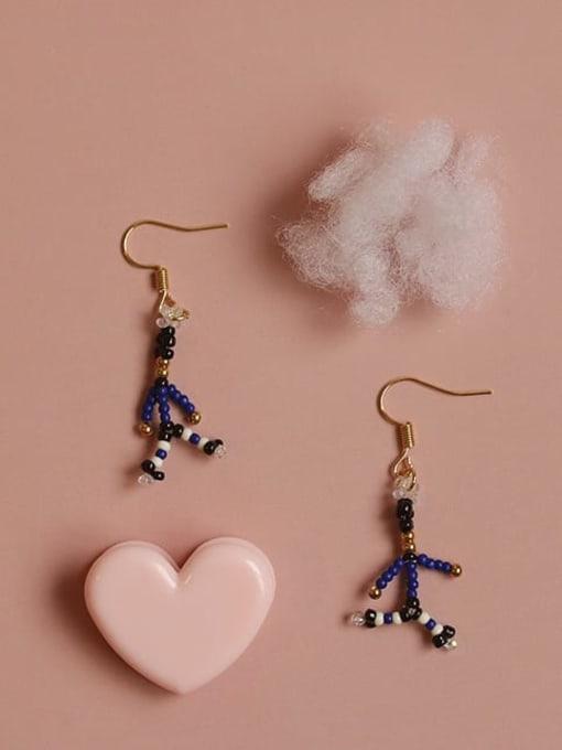 Five Color Alloy Bead Irregular Cute Hook Earring 0