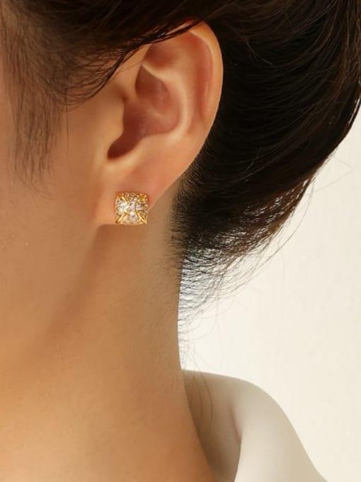 Five Color Brass Cubic Zirconia Geometric Minimalist Stud Earring 2
