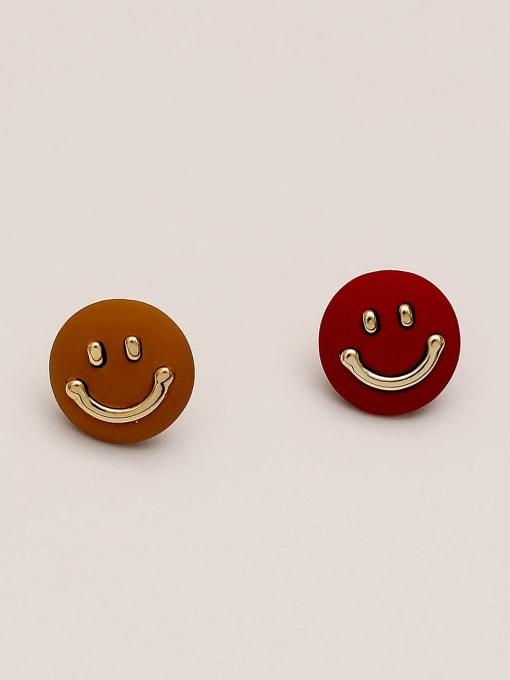 Red coffee Brass Smiley Minimalist Stud Earring