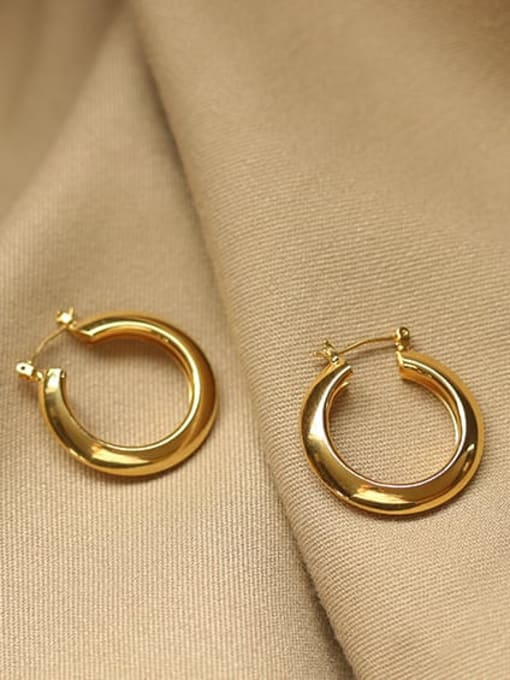 Round ear button (vacuum plating) Brass smooth Geometric Vintage Drop Earring