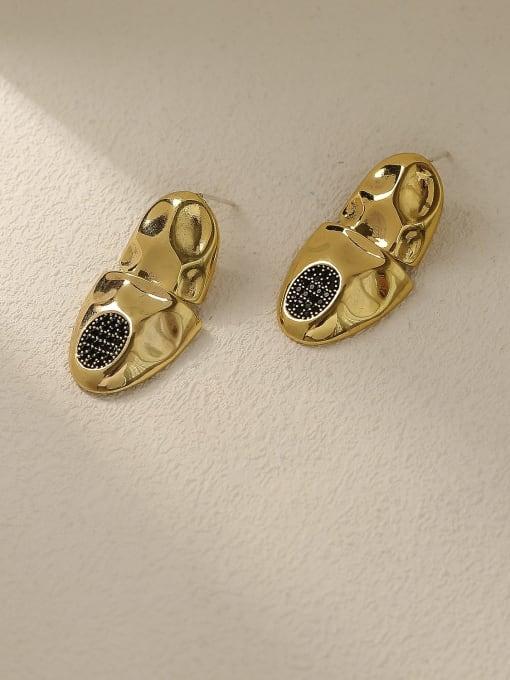 HYACINTH Brass Irregular Vintage Stud Earring 0