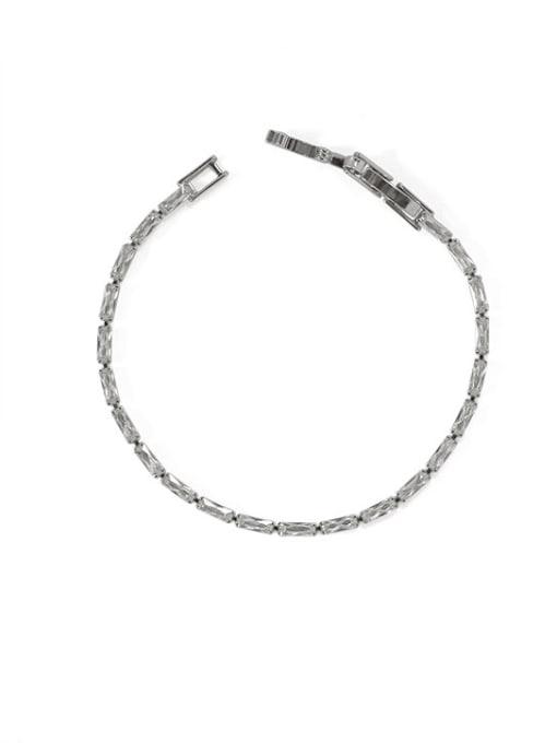 platinum Brass Cubic Zirconia Geometric Vintage Bracelet