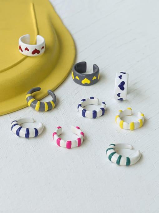 Five Color Zinc Alloy Enamel Heart Minimalist Band Ring 1