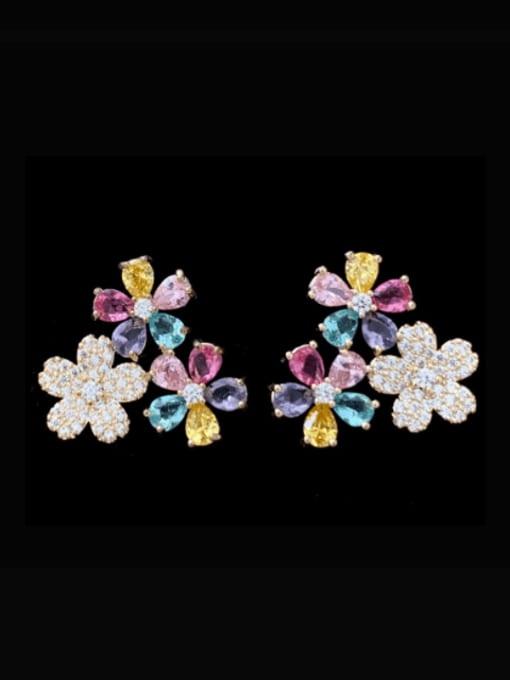 SUUTO Brass Cubic Zirconia Flower Luxury Stud Earring