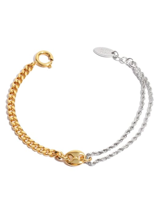 Gold and silver bracelet Brass Geometric Hip Hop Hollow Chain Link Bracelet