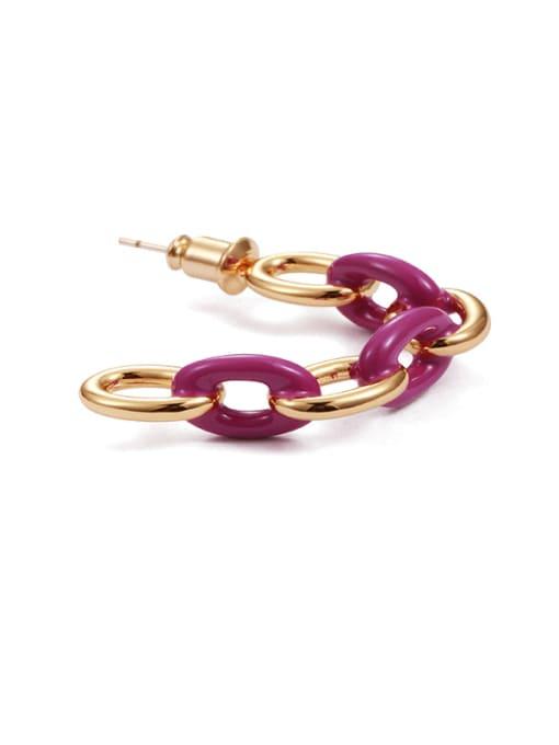 Five Color Brass Enamel Geometric Hip Hop Stud Earring 2