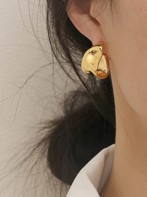 HYACINTH Brass Smooth Irregular Vintage Stud Earring 1