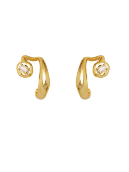 HYACINTH Brass Rhinestone Irregular Hip Hop Stud Earring 0