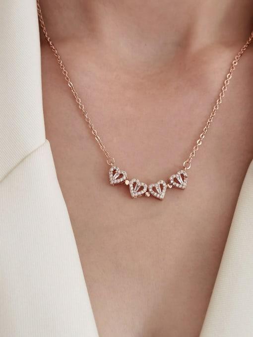 HYACINTH Brass Rhinestone Heart Minimalist Necklace 3