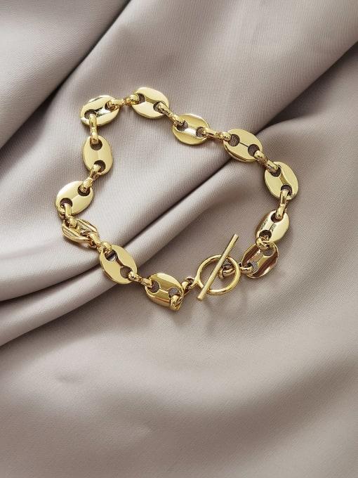 HYACINTH Brass Hollow Geometric Chain Vintage Link Bracelet 0