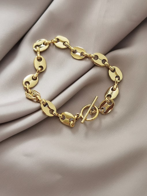 HYACINTH Brass Hollow Geometric Chain Vintage Link Bracelet