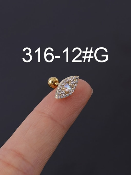 12G Stainless steel with Cubic Zirconia Ear Bone Nail/Puncture Earring