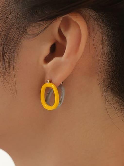Five Color Brass Enamel Geometric Minimalist Stud Earring 1