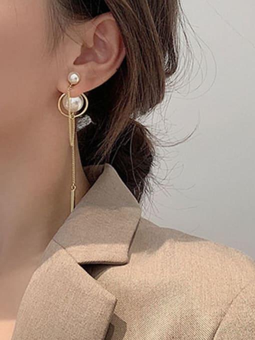 HYACINTH Brass Imitation Pearl Geometric Minimalist Threader Earring 1