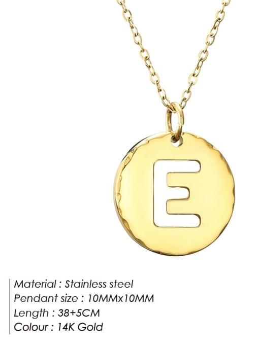 E Titanium Steel Letter Minimalist Round Pendant Necklace