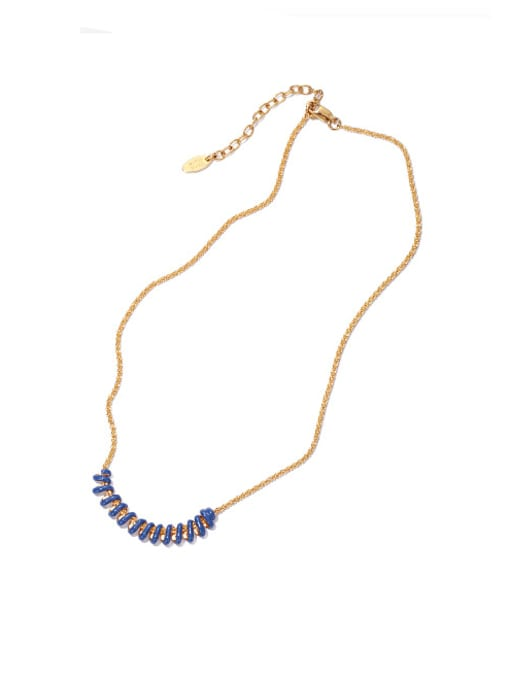 Blue oil drop necklace Brass Enamel Geometric Vintage Necklace