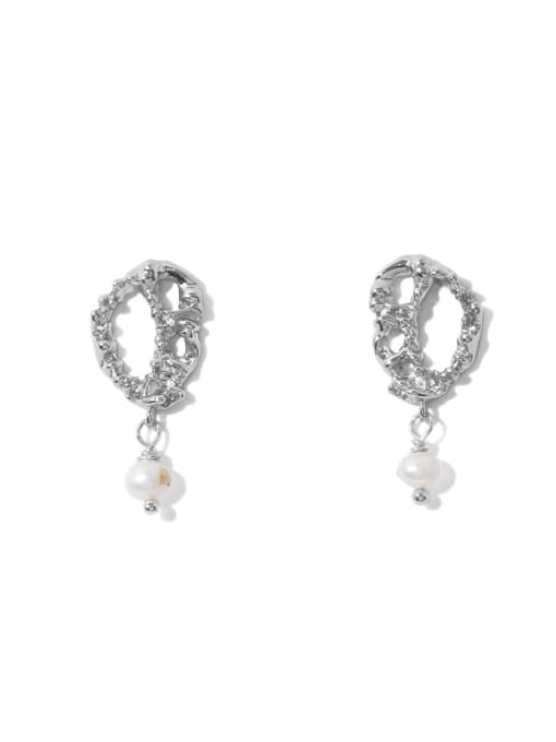 Platinum Earrings Brass Imitation Pearl Geometric Vintage Drop Earring