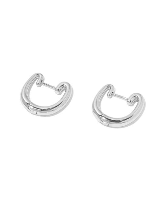 Steel Brass Geometric Minimalist Huggie Earring