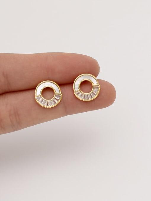 HYACINTH Brass Shell Geometric Minimalist Stud Earring 1