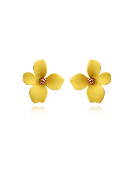 HYACINTH Brass Enamel Flower Cute Stud Earring 4