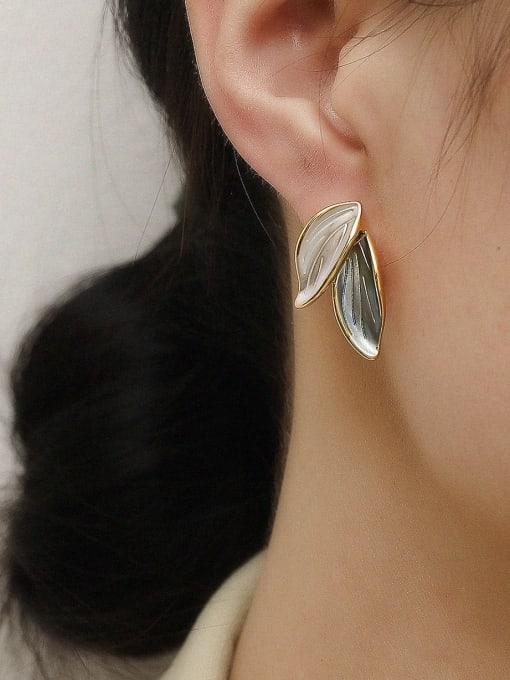 HYACINTH Brass Tree Leaf Minimalist Stud Earring 1