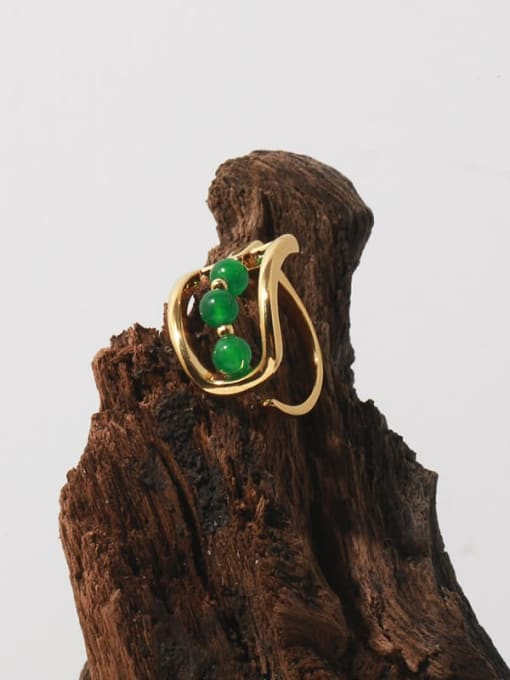 TINGS Brass Bead Geometric Vintage Band Ring 1