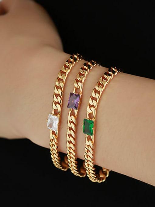 ACCA Brass Cubic Zirconia Geometric Hip Hop Necklace 2