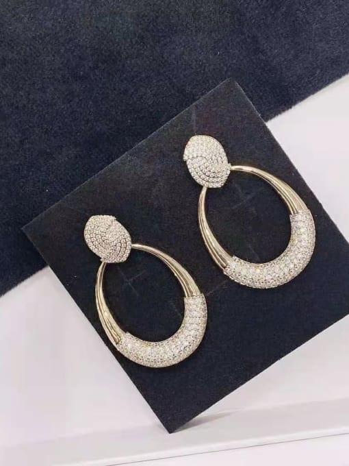 OUOU Brass Cubic Zirconia Water Drop Minimalist Drop Earring 1