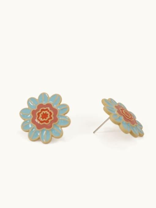 Five Color Alloy Enamel Flower Minimalist Stud Earring 2