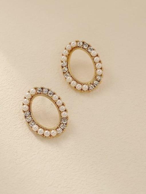 HYACINTH Brass Imitation Pearl Oval Vintage Stud Trend Korean Fashion Earring 0