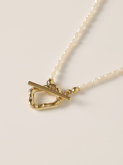HYACINTH Brass Imitation Pearl Locket Minimalist Necklace