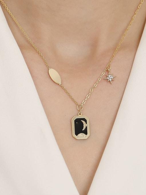 HYACINTH Brass Enamel Geometric Vintage Pendant Trend Korean Fashion Necklace 1