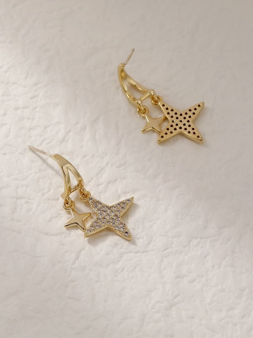 HYACINTH Brass Cubic Zirconia Star Vintage Stud Trend Korean Fashion Earring 3