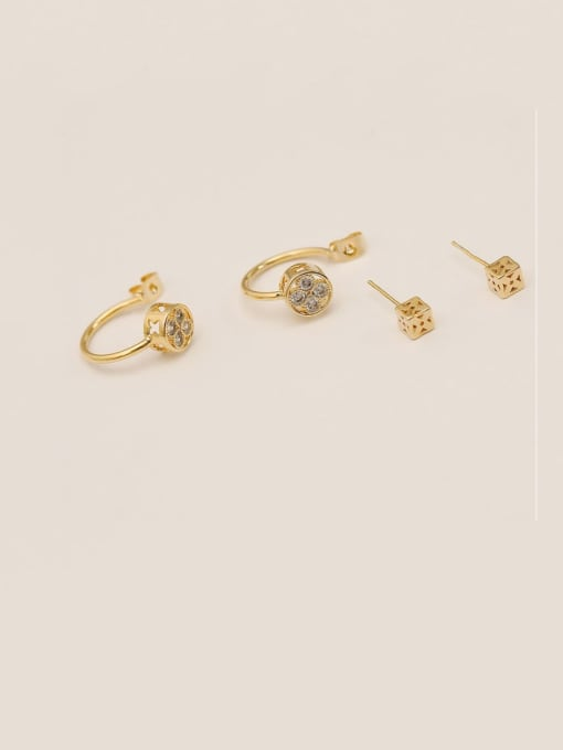 14k Gold Brass Cubic Zirconia Geometric Minimalist Hook Earring