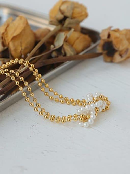 ACCA Brass Imitation Pearl Geometric Vintage Necklace 3