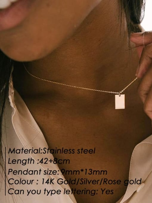 Desoto Titanium Steel Rectangle Minimalist  Trpe Lettering  Pendant Necklace 3