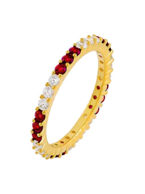 gules Brass Cubic Zirconia Geometric Minimalist Band Ring