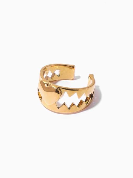 golden Brass Heart Vintage Band Ring