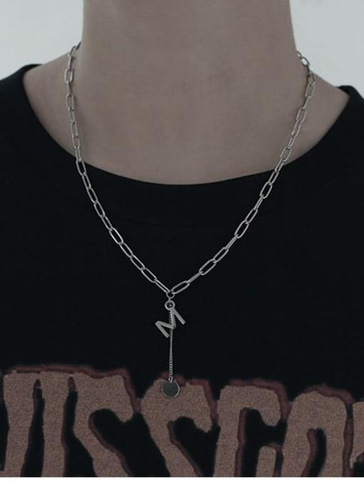 TINGS Titanium Steel Letter Vintage Lariat Necklace 1