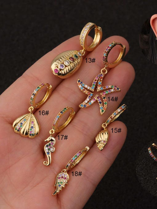HISON Copper with Cubic Zirconia Multi Color Star Dainty Hoop Earring 2