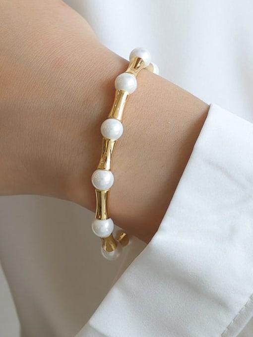 Five Color Brass Imitation Pearl Geometric Minimalist Beaded Bracelet 2