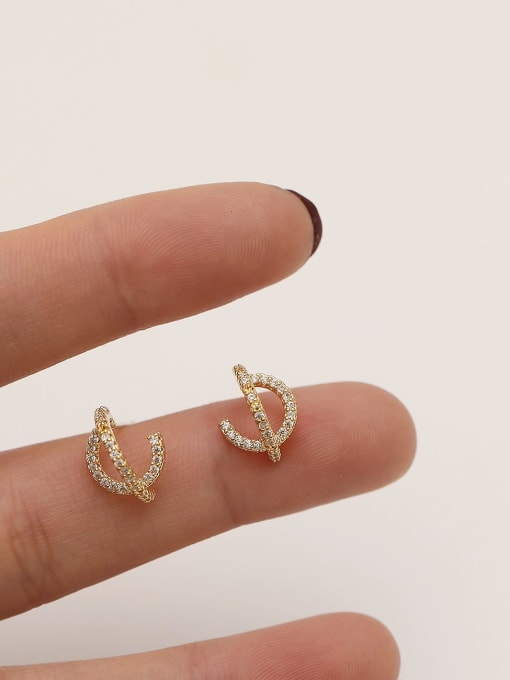 HYACINTH Brass Cubic Zirconia Irregular Minimalist Stud Earring 2