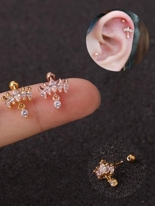 HISON Brass Cubic Zirconia Crown Cute Stud Earring 0