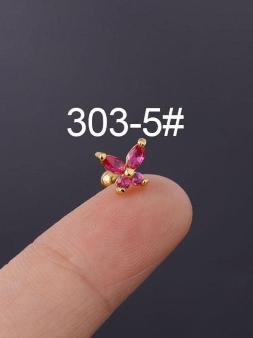 5(Single) Brass Cubic Zirconia Butterfly Cute Stud Earring
