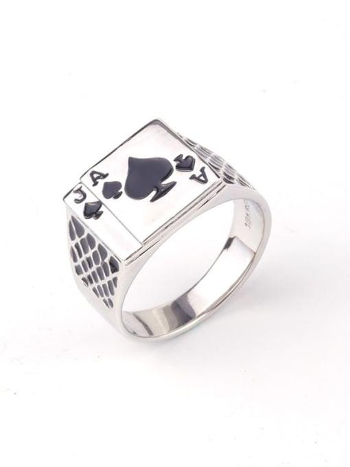 black Zinc Alloy Enamel Geometric Vintage Band Ring
