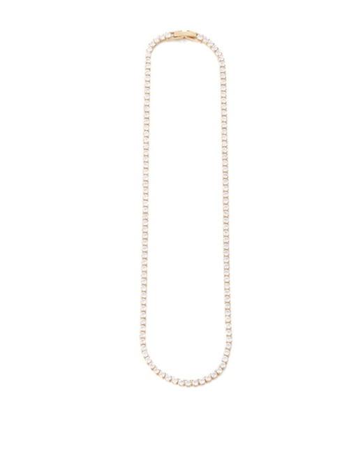 Zircon Necklace (33cm) Brass Imitation Pearl Geometric Vintage Necklace