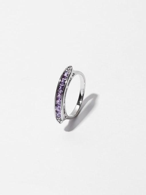 Purple zircon ring Brass Cubic Zirconia Geometric Minimalist Band Ring