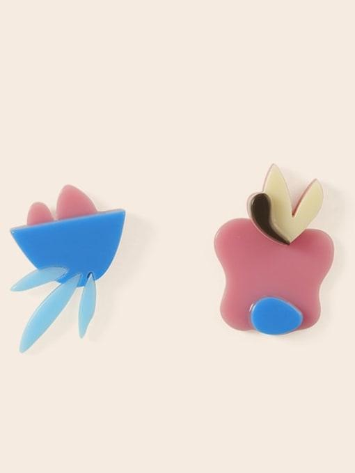 Section 4 Alloy Acrylic Leaf Cute Stud Earring